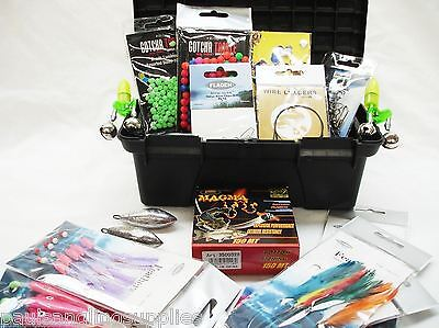 Fishing Tackle Box 10 Sea Rigs Weights Sequins Traces Swivels Clips Line Beads 4