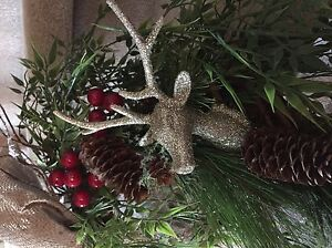 Christmas wreath -- natural -- deer and burlap Kawartha Lakes Peterborough Area image 2