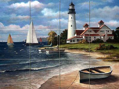 32 x 24 8 x 8 Lighthouse Ocean Mural Ceramic Backsplash Tile #643