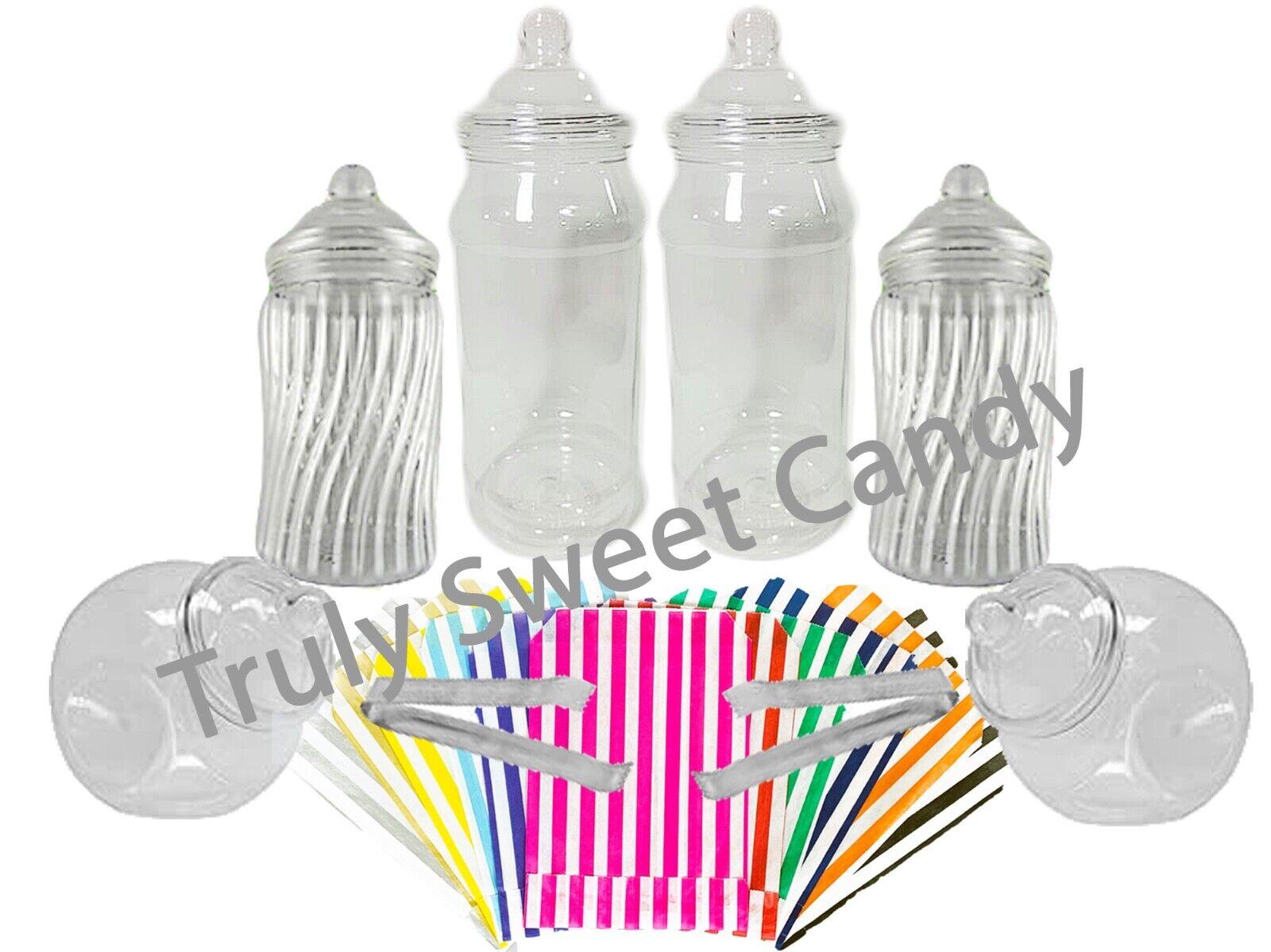 5 x 1 L Plastique Sucré Pots 2 Pinces 50 Sacs Bonbon Buffet Mariage Fête Bday