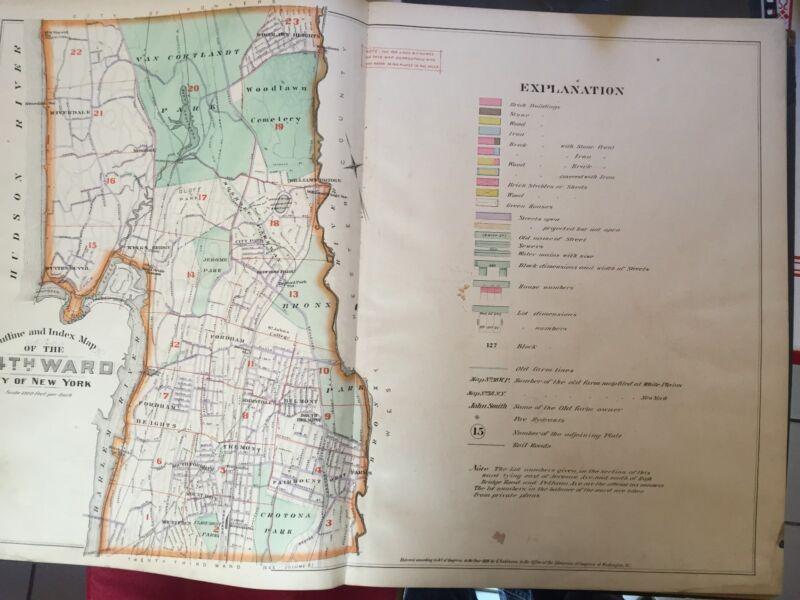 1888 E ROBINSON Atlas Map NORTH BRONX RIVERDALE NY VAN CORTLANDT COPY INDEX PAGE