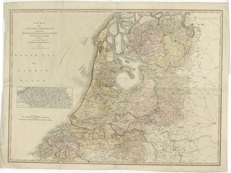 Antique Map of the Low Countries by Cary (1813)