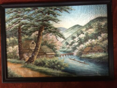 Old Fine JAPANESE SILK Bridge & Houses EMBROIDERY TAPESTRY PAINTING