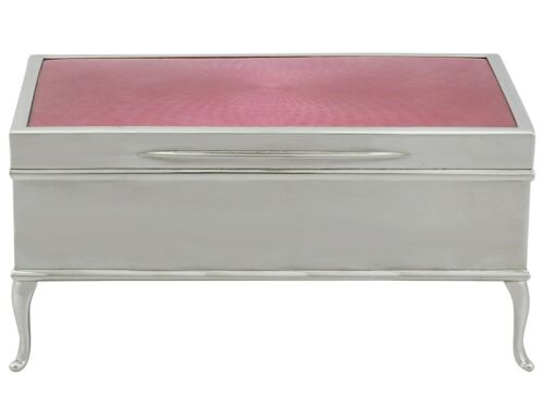 Antique Sterling Silver And Enamel Jewellery / Trinket Box - 1900-1940