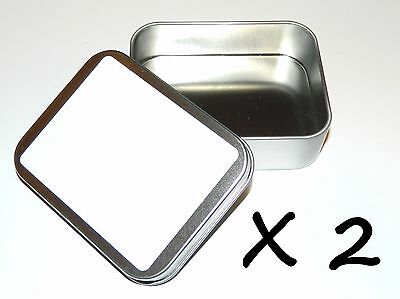 2 X 4-oz Rectangular Blank White Label Slip On Lid Tin Container Box Crafts Use ()