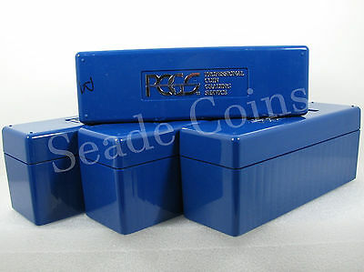 4 PCGS Boxes - Each holds 20 coins, PCGS Blue Storage Boxes - Used