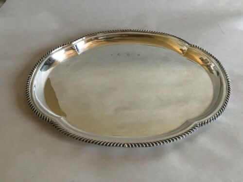 1962 STERLING SILVER LONDON OBLONG MCM D J REPAIRS SALVAR TRAY 14 X 11 HANDSOME