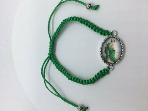 St. Saint Jude Catholic Bracelet San Judas Brazalete cordon verde
