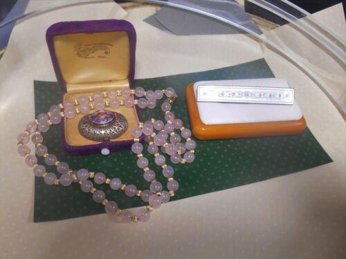 ESTATE JEWELRY 14k gold rose quartz neckl antique enamel pin sterling amethyst