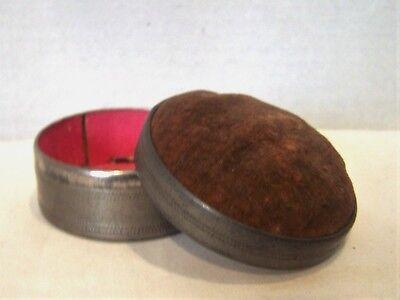 Vintage Tin Box Pin Cushion Brown Velvet Cushion