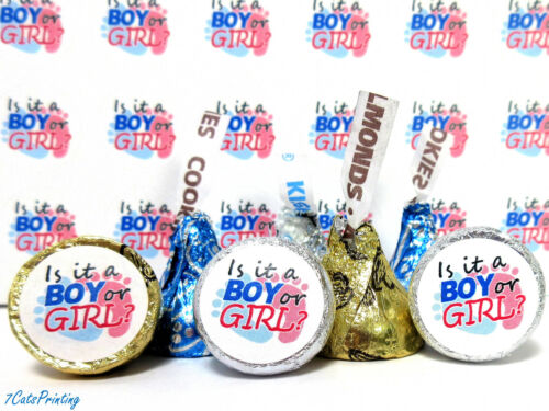 Gender Reveal Party Favor Stickers Fits Hershey Kisses Team Boy or Girl Labels