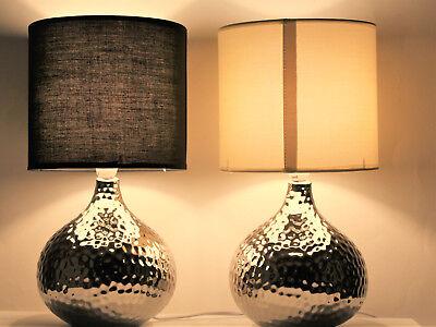 Schwarze Keramik Lampe (35 cm Keramik Lampe TischlampeTischleuchte Nachttischlampe Silber schwarz Weiß)