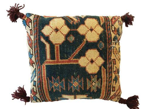 "19th C Caucasian Fragment Lumbar Pillow 10"" W by 10"""