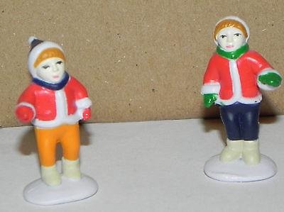 "Estate=Christmas =Train village:2 pc set, Boy and Girl Hard Plastic 1-3/4"" tall"