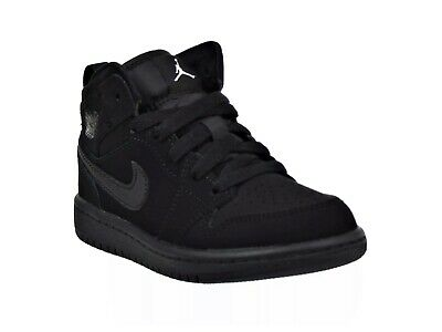 Nike Air Jordan 1 Mid Boys Size 3Y Black /White / Black Sneaker Shoes 640734-040