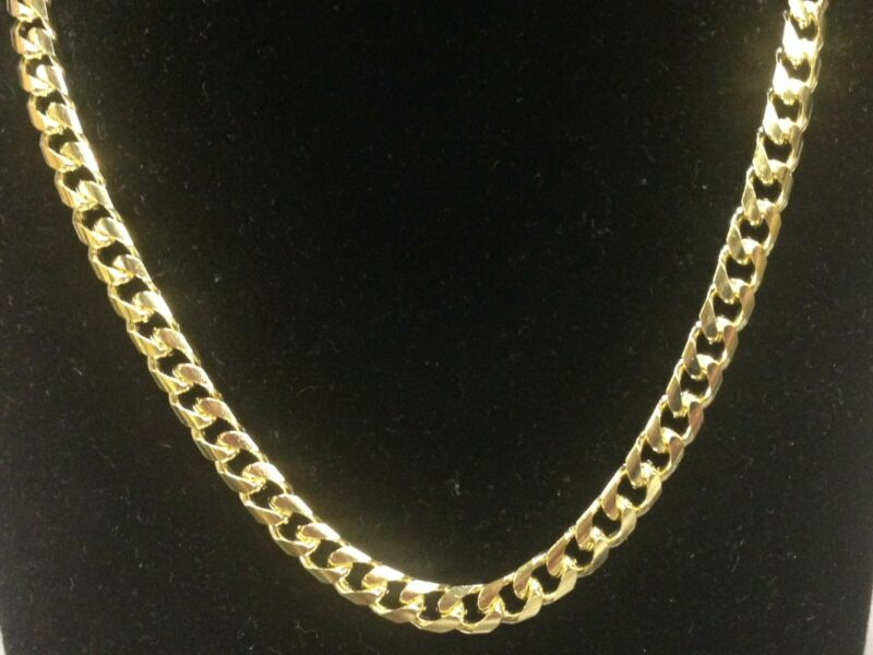 "14k Solid Gold Miami Cuban Curb Link 24"" 5.8 Mm 47 Grams Chain/necklace Mc180"