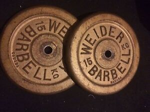 "15 KG (33 Lbs) Gold Weider Weight Plates 1"" Hole  $55"