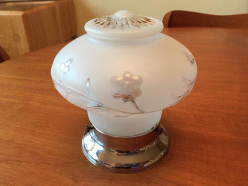 VTG Mid Century1950s Flush Mount Ceiling LIght Fixture Lamp Frosted Glass Chrome