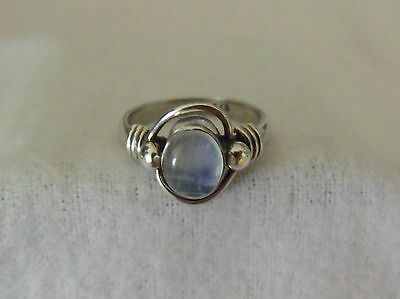 CLASSIC STERLING SILVER 925 WIREWORK MOONSTONE RING SIZE (Silver Wirework Ring)