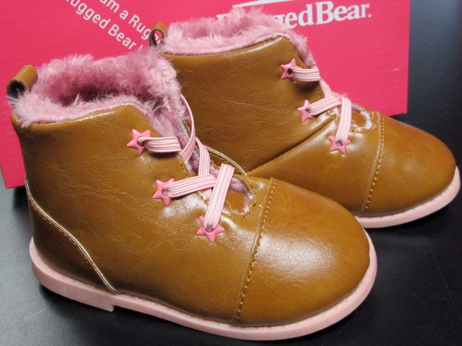 NEW BABY GIRLS RUGGED BEAR BROWN BOOTS W/PINK LACES & FUR SZ 6