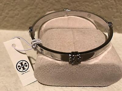 NWT Tory Burch  Women's Logo Silver tone Bangle Bracelet