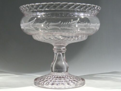 """Antique Central Glass 8"""" Compote #794 Rope & Fern Cut Footed Bowl"""