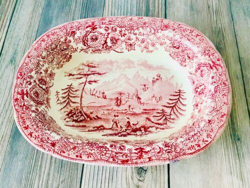 Antique Ridgeways Tyrolean Red/Pink Scenic Transferware Oval Bowl England