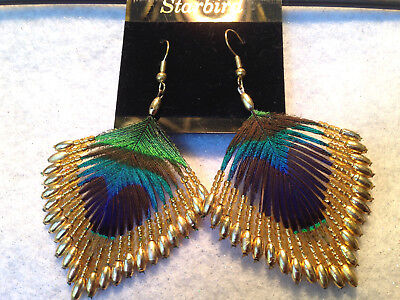 PEACOCK FEATHER GOLD BEADED EARRINGS 80's (Beaded Feather Earrings)