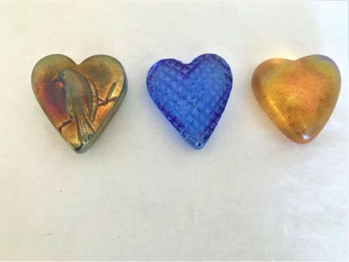 3 ROBERT HELD STUDIO GLASS HEARTS PUFFY BIRD IRIDISCENT GOLD BLUE