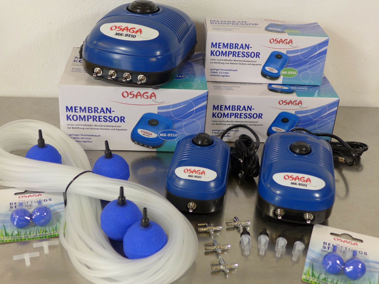 Osaga MK95-Serie Aquarium Teich Belüfter Sauerstoffpumpe Membrankompressor & Set