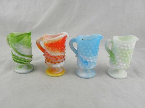 4 Vintage KANAWHA Slag Glass Swirl Hobnail Miniature Pitchers