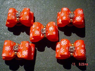 Pretty Red With Flower Pattern Show Dog Grooming Bows Diamante Centre