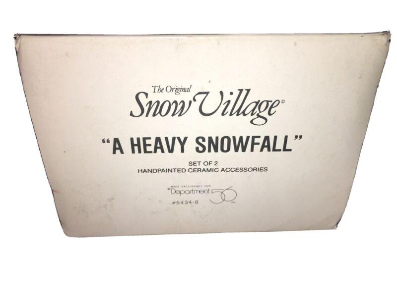 "Dept. 56 Snow Village - ""A Heavy Snowfall"" - Set of 2"