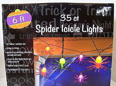 SPIDER ICICLE LIGHTS  for Halloween Indoor Outdoor String of 35 Lights - Halloween Icicle Lights Outdoor
