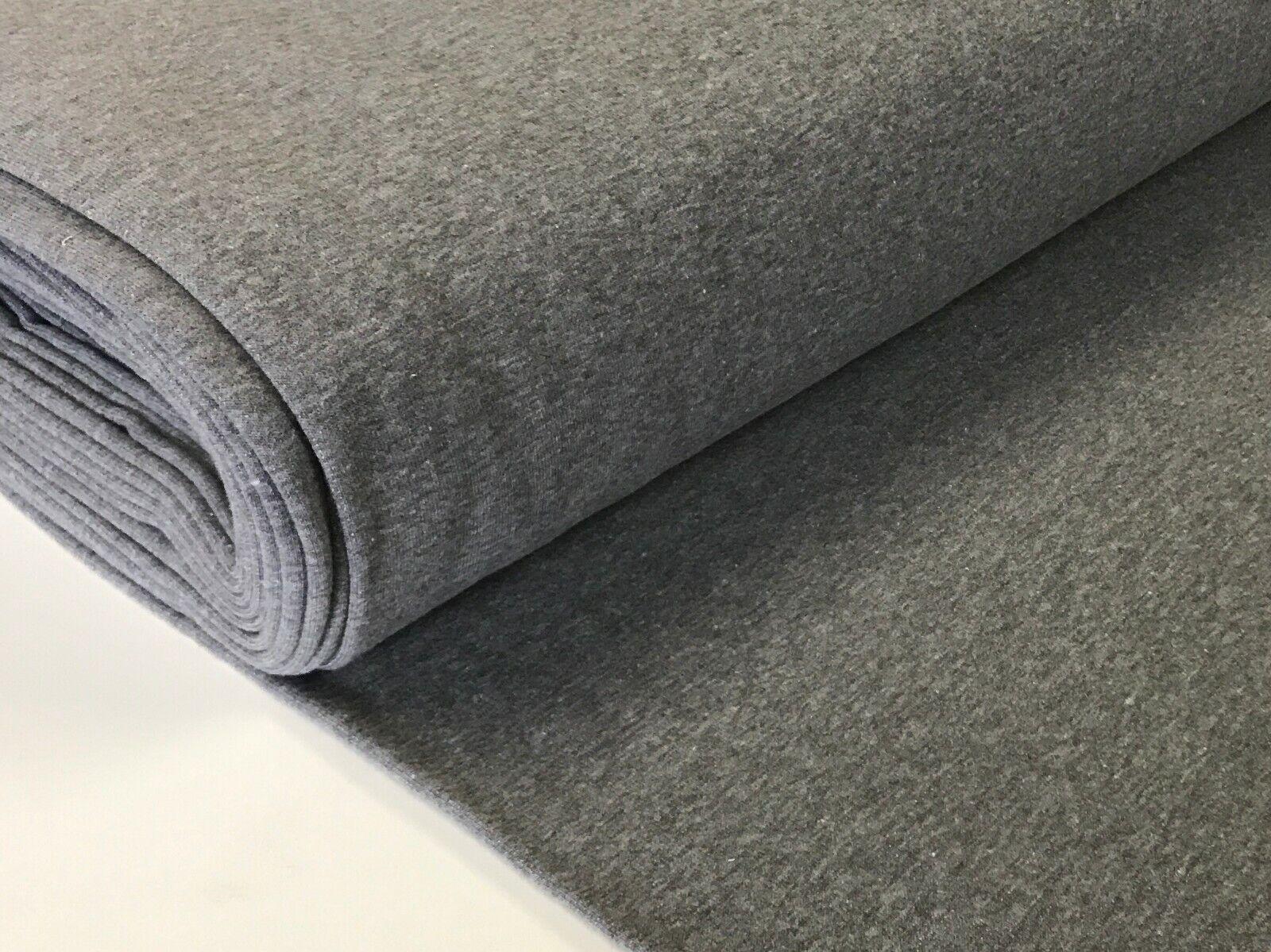Sweatstoff meliert uni viele Farben METERWARE ÖKOTEX angeraut 140 cm breit Grau