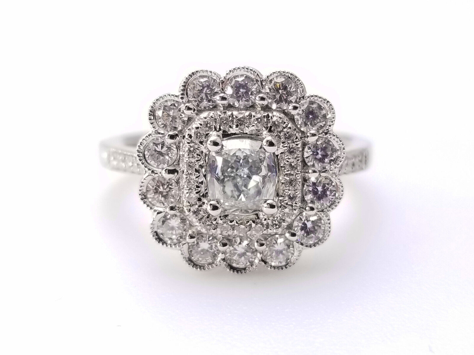 1.03ct Faint Blue Diamond Engagement Ring GIA Cushion Hallo 18K White Gold VS1 2
