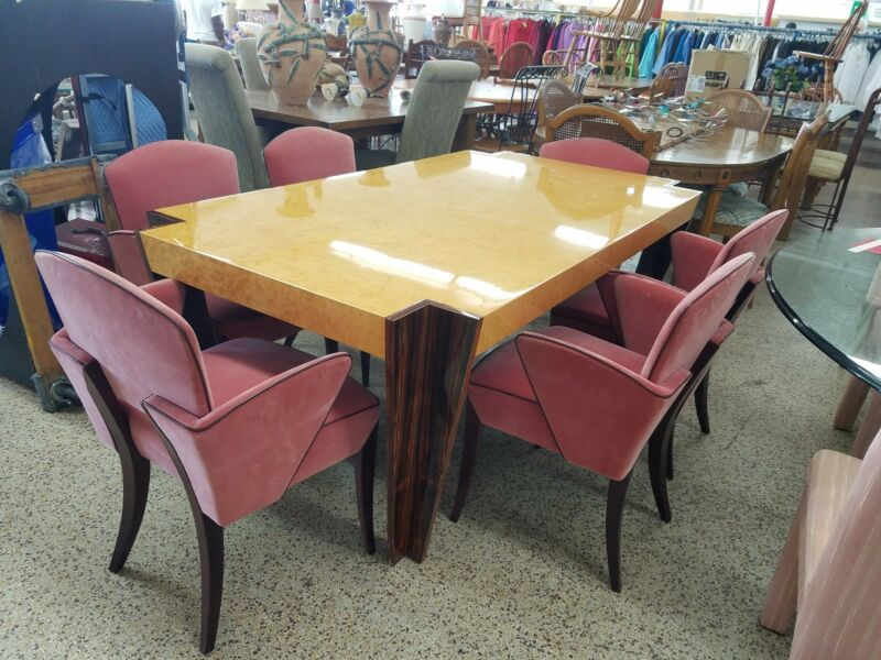 HIGH END ITALIAN ART DECO REVIVAL ROSEWOOD - BIRDSEYE MAPLE DINING SET P