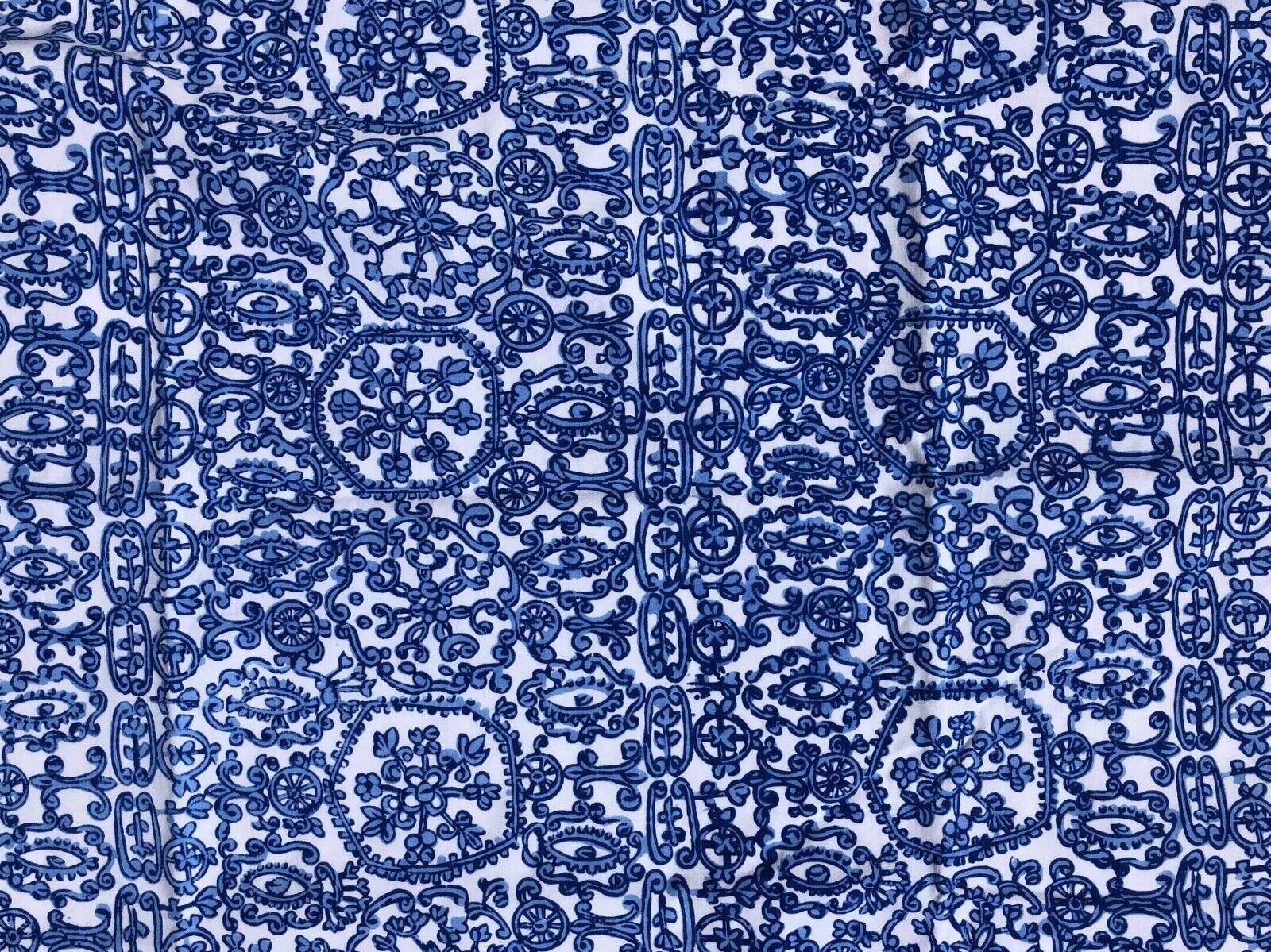 D. PORTHAULT King Pillow Cases Blue White 100% Cotton Scallo