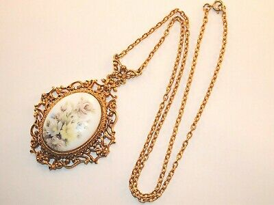 Vintage Victorian Revival Signed Florenza Floral Porcelain Lavaliere Necklace