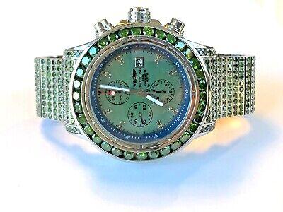 20 Carat Green Diamond Mens Breitling Super Avenger A13370 Watch, 50mm, 300M