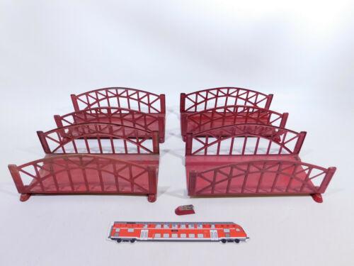 CQ176-2 #4x Märklin Gauge 1 Steel Arch Bridge/Bridge, Defects/Artisan, Red