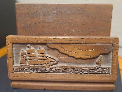 Wooden Ship Business Card Holder Vintage