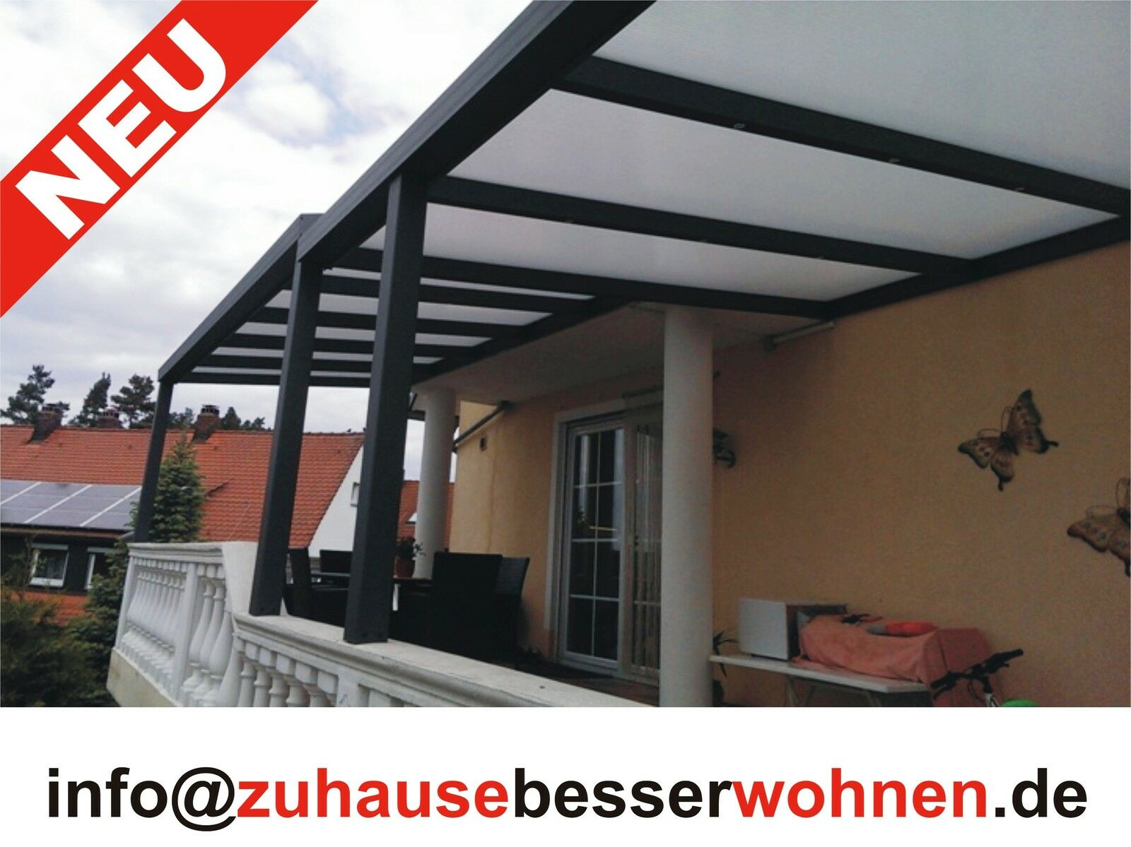 terrassen berdachung carport berdachung aluminium terrassendach vsg glas 3x3m. Black Bedroom Furniture Sets. Home Design Ideas