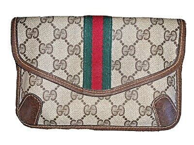 Authentic Vintage GUCCI Logo Pouch Brown Leather/PVC GG monogram, Web Stripe