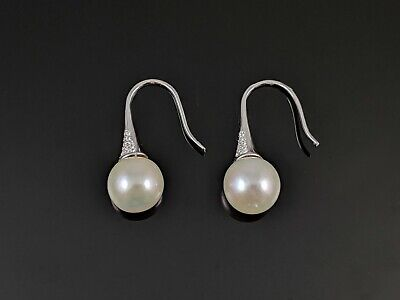 11-12mm Genuine Freshwater Round White Pearl Dangle Earrings (12mm Freshwater Pearl)