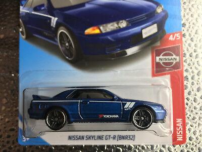 2019 Hot Wheels NISSAN SKYLINE GT-R (BNR32) Blue YOKOHAMA Nissan #4/5 #1/250 MOC