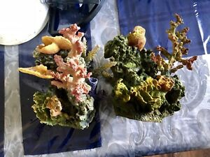 2 large National Geographic coral aquarium decoration