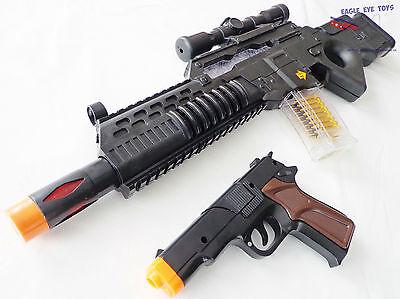 - Military Soldier HUGE Toy Rifle Machine Gun with Flashing Lights Black 9mm Cap