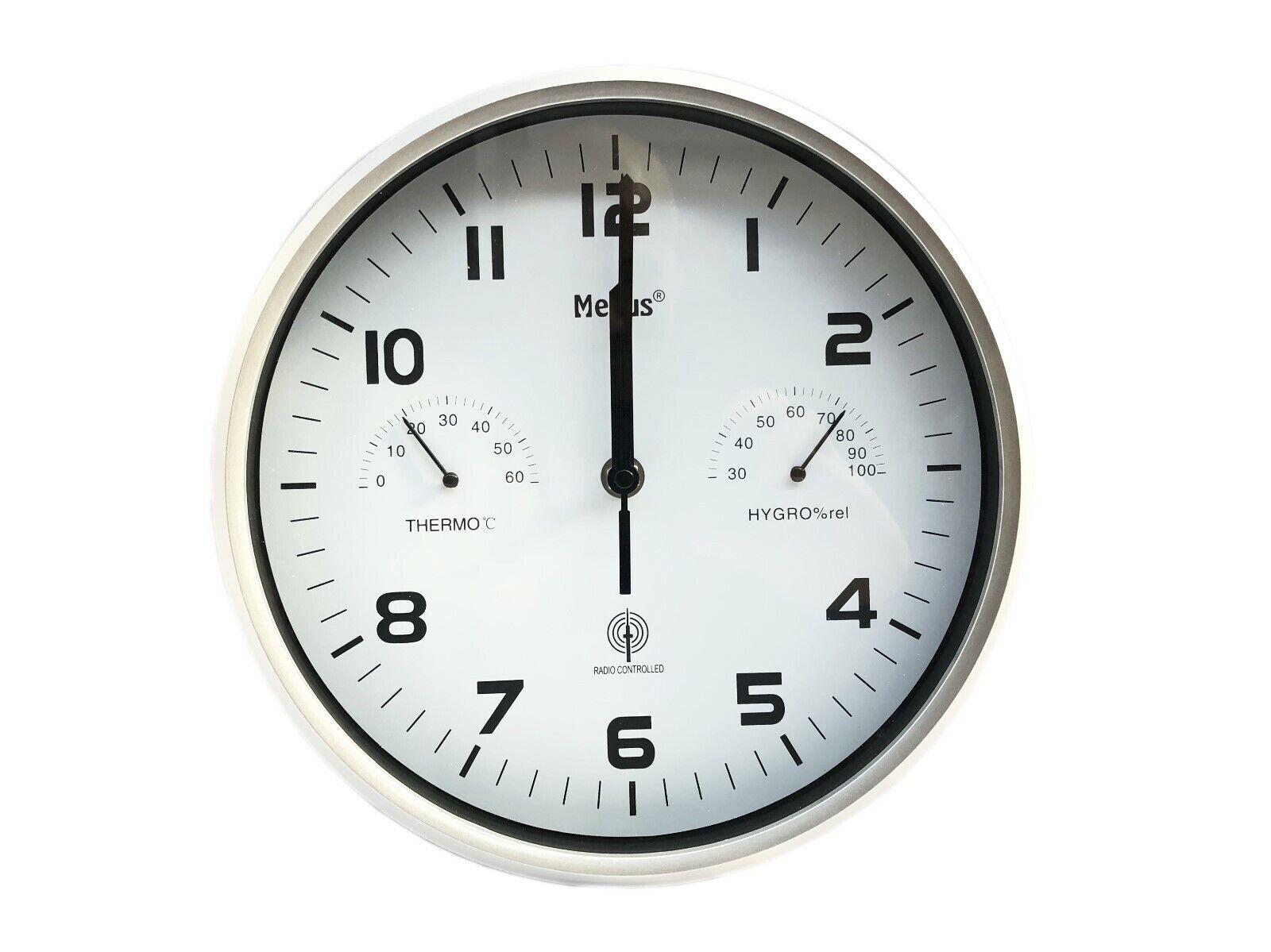 Mebus Funk Wanduhr Thermo Hygrometer Küchenuhr Uhr 25,5 cm Funkuhr Bürouhr H367