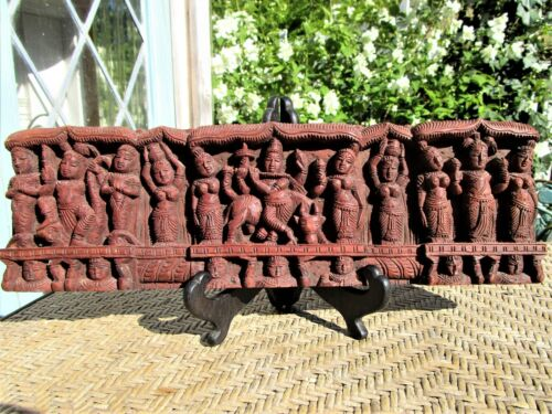VINTAGE INDIAN OR EAST ASIAN HINDU ORNATELY CARVED FIGURAL WOOD PANEL